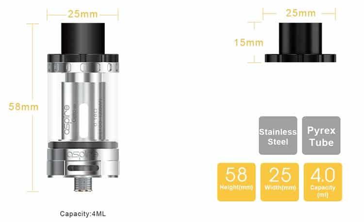 Aspire Cleito 120 Tank Dimensions